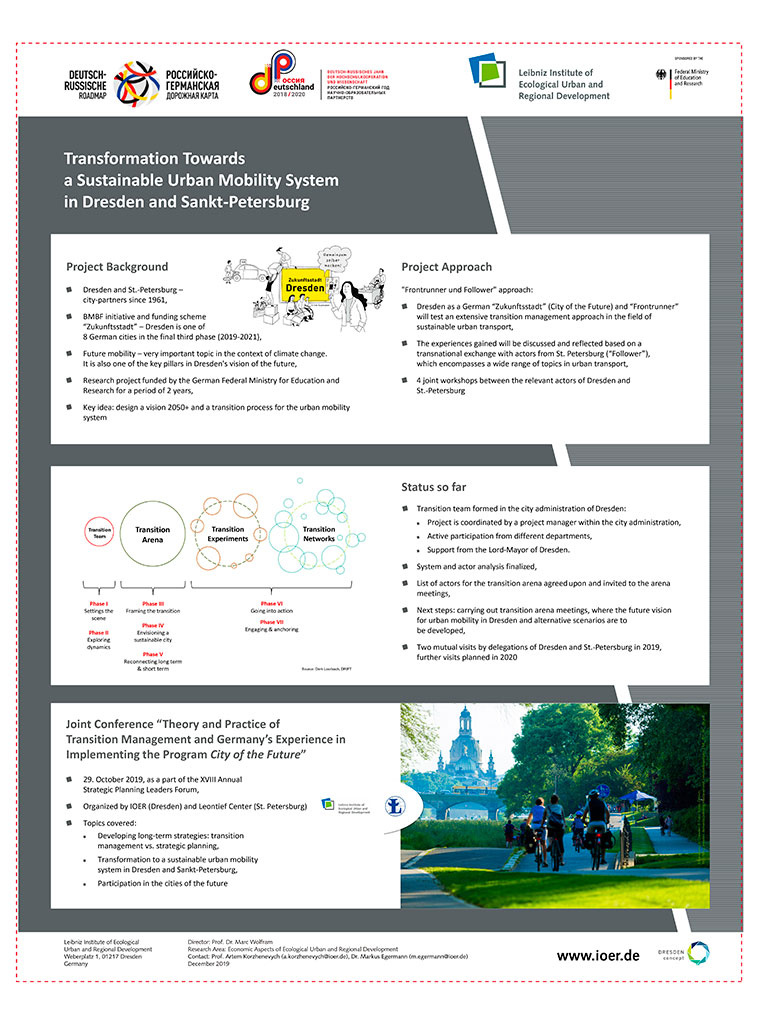 Transformation Towards a Sustainable Urban Mobility System in Dresden and Sankt-Petersburg